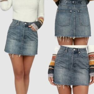 Free People We the Free Button Fly Distressed Denim Skirt size 25